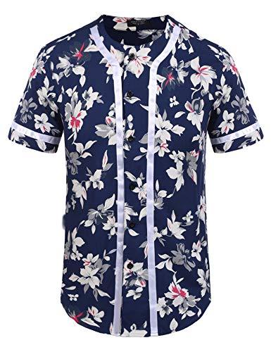 (COOFANDY Men's Flower Print Hip Hop Baseball Jersey Button Down Short Sleeve Shirt,Type2:color 1,XX-Large )