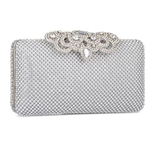 Bag Jewelry Purse Handbag Luxury Silver Rhinestone 2017 Fashion Crystal Clutch Bag Evening zn4Oq8AFW