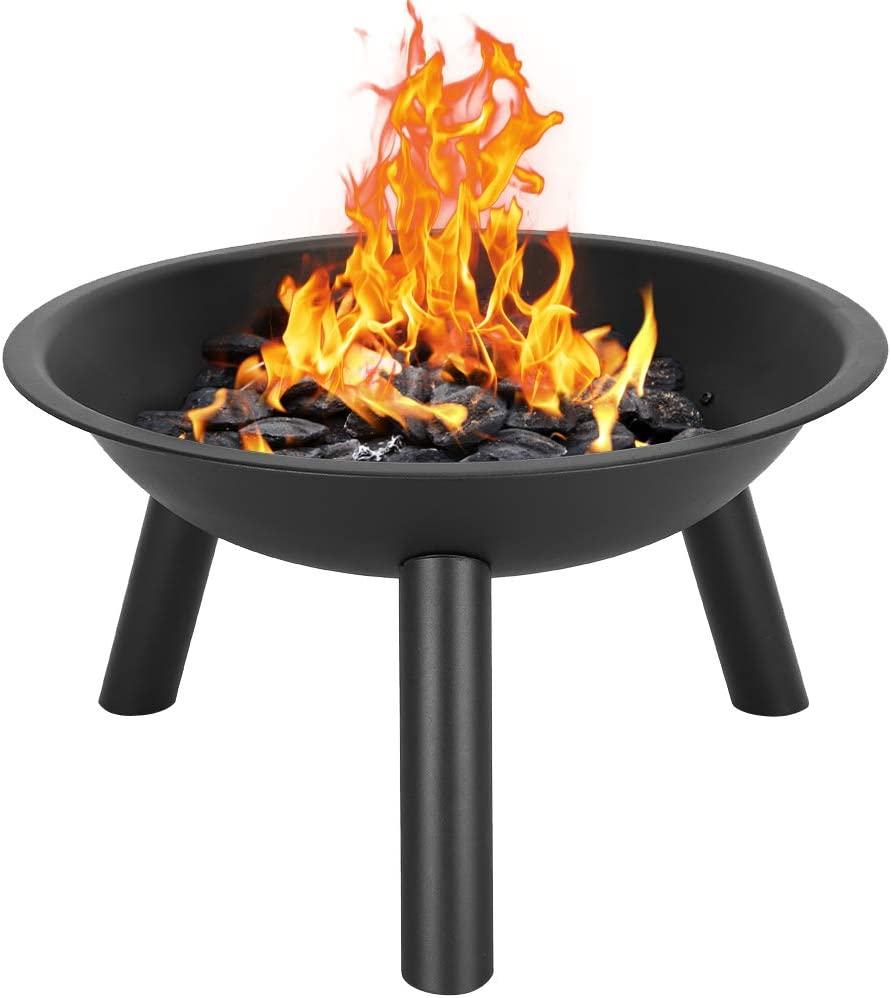 VICTORTECH Cast Iron Outdoor Fire Pit, Round Metal Firepit, Bonfire Stove, Wood Burning BBQ Fire Pit Without Mesh Spark Screen Cover for Camping Picnic Patio Backyard Garden(US Warehouse Stock)