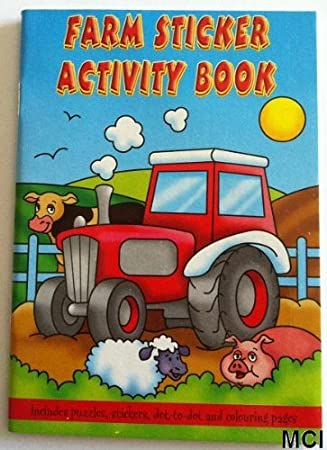 1 x 12 x farm activity sticker a6 books childrens party bag fillers