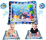 QDH Inflatable Tummy Time Baby Water Mat, Water Filled Play Mat for 3 6 9 12 Months Newborn Boy Girl Babies-Pe