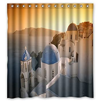 Comfortable The Greek Romantic Places Sunset Shower Curtain Stylish Drapery Panels Treatment Waterproof