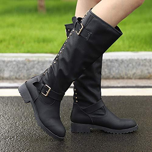 Genou Bottes Romain Femmes Dames Longues Rivet Martin Cowboy Noir Chaussures qwISqXcZt