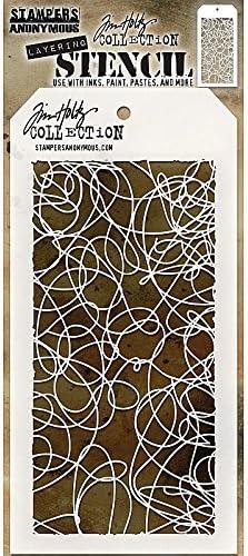 28.3 x 11.4 x 0.1 cm Stampers Anonymous Tim Holtz Doodle Stencil Transparent
