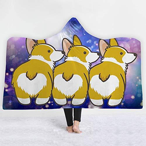 MSACRH Fashion Wearable Hooded Blanket Corgi Butt Heart Warm Home Blanket Soft Cloak Thick Blanket