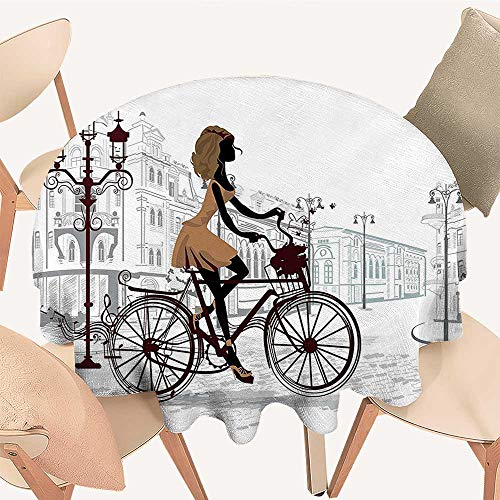 Dragonhome Round Premium Table Cloth Young Girl in Paris Streets with Bike French Display Chestnut and Light Perfect for Indoor, Outdoor, 47 INCH Round