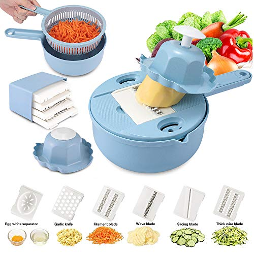 Yoocaa Mandoline Slicer Spiralizer Vegetable Slicer, Veggie Slicer 10 in 1 Vegetable Chopper Cutter Slicer Grater, Meals Veggie & Food Dicer