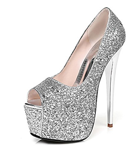 Evening Stiletto Club Silver Shoes amp; Spring Party Wedding Summer Synthetic 39 Dress Heel Winter MNII Fashion Gold Fall Heels Shape fgwXPO