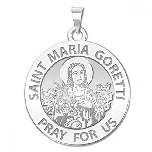 Saint Maria Goretti Religious Medal - 3/4 Inch Size of a Nickel in Sterling Silver (Medal Saint Goretti Maria)