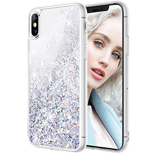 Maxdara Case for iPhone X iPhone Xs Glitter Case Liquid Flowing Luxury Bling Sparkle Glitter Shockproof Girls Women Case X XS 5.8 inches (Silver) (Moving Iphone 4 Case)