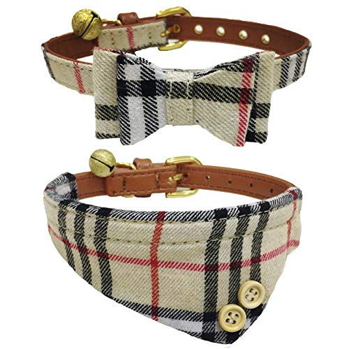 The creativehome Dog Cat Collars Leather for Small Pet Adjustable Bow-tie and Scarf Puppy Collars with Bell Cute Plaid Bandana Dog Collar Beige (2 Pack)