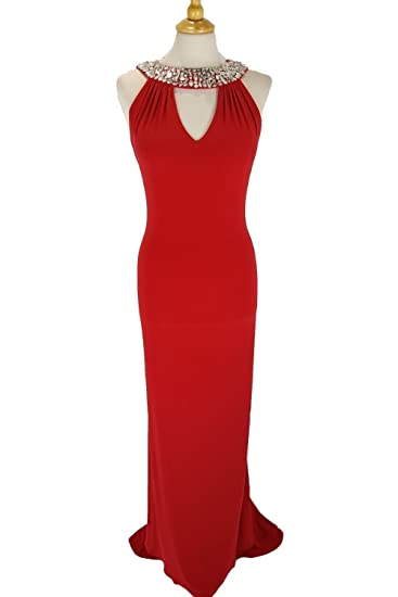 Tiffanys Illusion Prom Atlanta Red Jersey Halterneck Long Dress UK 18