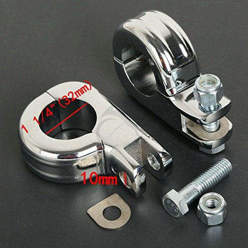 TCMT Chrome Foot Pegs Foot rest Mounting P-Clamp Footpeg Footrest Set For Harley-Davidson 1 1/4
