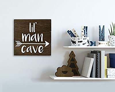 Elegant Signs Boys Nursery Wall Decor for Little Baby Boy or Toddler - Lil Man Cave Wood Sign