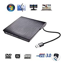 External DVD Drive USB 3.0 Ultra Portable External CD DVD Storage Drive, External DVD Writer/ Burner CD DVD RW DVD ROM Drive for Apple Macbook, Macbook Pro or other Laptop/Desktops