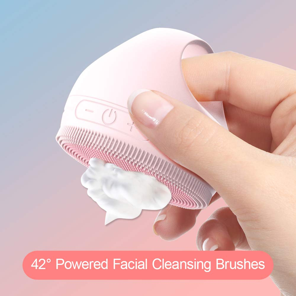 42℃ Powered Facial Cleansing Brush, IPX7 Waterproof Face Brush, 3 Modes and 3-Stage Intensity Regulation, Automatic Drying,Antibacterial Silicone Used on Full Screen Brushes for Face Deep Cleansing in18