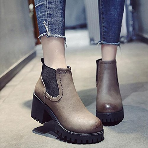Thick 7 High With Autumn Martin 5Cm Taiwan KHSKX Short Retro New Winter Head Boots Boots Waterproof 35 Boots Round Women England Shoes Heeled Women'S vCUaw