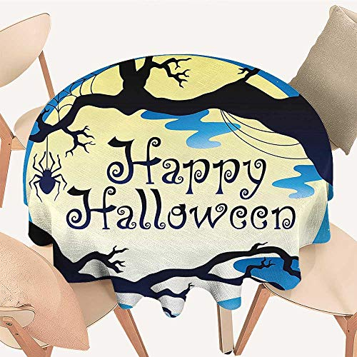 Easy-Care Cloth Tablecloth Happy Halloween Quote Spooky Night Moon and Branches Shadows Haunted Lights YEL for Home, Party, Wedding, 55 INCH -