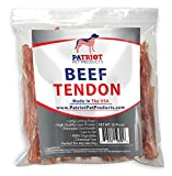 Beef Tendons for Dogs Made in USA by Patriot Pet. USDA FDA approved Thick Beef Tendons Dog Treats are Natural Dog Chews. Dog Beef Tendon 20 Pack Perfect for Puppies of any Size and Breed.