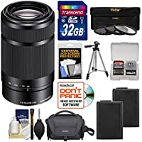 Sony Alpha E-Mount 55-210mm f/4.5-6.3 OSS Zoom Lens (Black) with Sony Case + 32GB Card + 2 NP-FW50 Batteries + 3 Filters + Tripod Kit for A7, A7R, A7S Mark II, A5100, A6000, A6300 Cameras