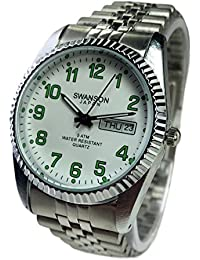 Reloj de Hombre Swanson Japan Watch Mens Day-Date Silver With Green Number New Water