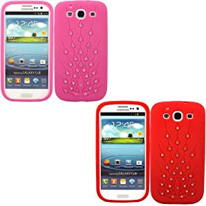 2 Pack Peacock Diamante Silicona Cubrir Caso Piel Para Samsung Galaxy S3 i9300 / Hot Pink And Red