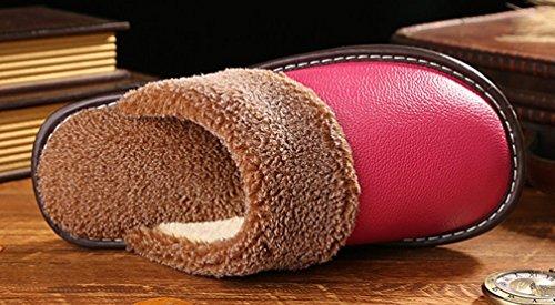 Cattior Kvinna Päls Fodrade Hus Tofflor Läder Tofflor (8,5, Röd Ros)