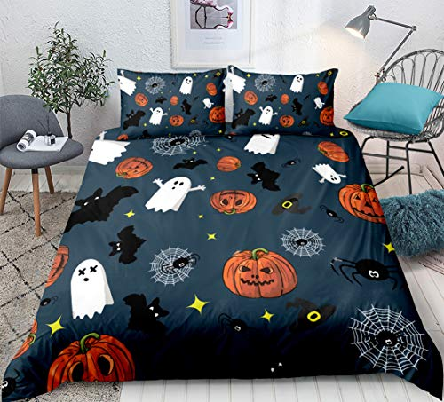 Halloween Bedding Sets Store (Halloween Bedding Kids Pumpkin Duvet Cover Set Lovely Jack O Lantern and Ghosts Pattern Boys Girls Bedding Sets Queen (90x90) 1 Duvet Cover 2 Pillowcases (Halloween,)
