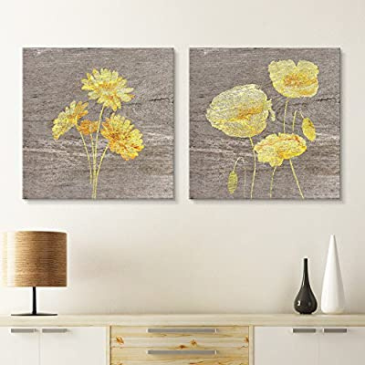 2 Panel Square Canvas Wall Art - Yellow Floral Wood Effect Canvas Set - Giclee Print Gallery Wrap Modern Home Art Ready to Hang - 12