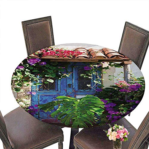 PINAFORE Round Premium Table Rustic Charm of Old Overgrown with Exotic Plants and Palm Leaves for Indoor, Outdoor 40