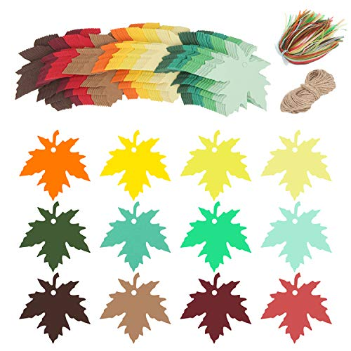 Soonow Maple Leaves Paper Gifts Tags - 120 Pcs Favor Hang Tags Name Tags with Strings for Baby Show Birthday Party Wedding Favors Tags, Ribbons and 65 Feet Jute Twine Included ()