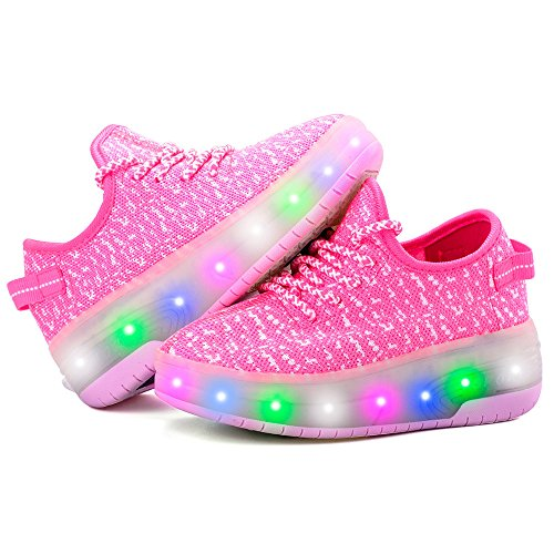 edv0d2v266 USB Charging LED Light up Roller Skate Shoes Double Wheel Flashing Sneakers for Boys Girls Kids(Pink 2 Wheel 1 M US Little Kid) by edv0d2v266 (Image #3)