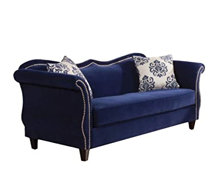 Amazon.com: Benzara BM166136 Premium Velvet Fabric Sofa, Blue ...