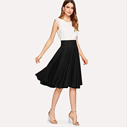 YISQING Falda Plisada de Cintura Ancha Elegante Negra Faldas ...