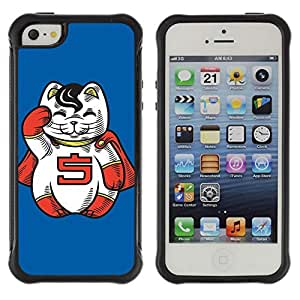 Hybrid Anti-Shock Defend Case for Apple iPhone 5 5S / Lucky Cat Charm Statue