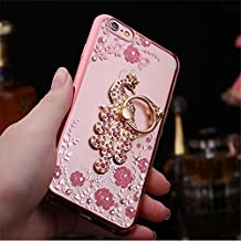 Galaxy Note 5 Case,Secret Garden Butterfly Floral Bling Swarovski Rhinestone Diamond Peacock Tail Shape 360 Degree Rotating Ring Kickstand Holder Case for Samsung Galaxy Note 5(Rose Gold-Pink Flower)