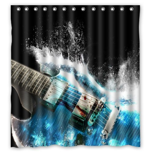 Unique And Generic Water Guitar Shower Curtain Custom Printed