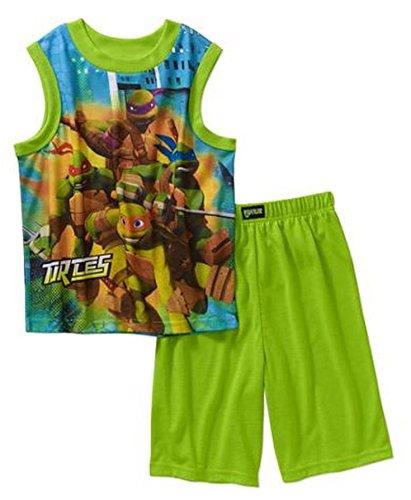 Teenage Mutant Ninja Turtles Tank Top Front & Back Boys Pajama Set Medium (Ninja Turtles Clothing Size 8)