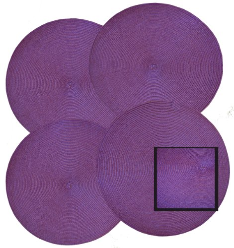 14-Round-Shape-Woven-Placemat-Set-of-4-Lavender-Purple-Color