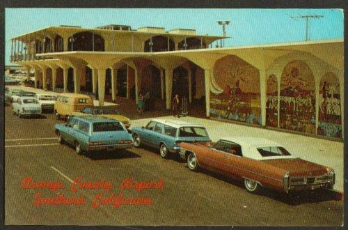 Passenger pickup Orange County Airport CA postcard 1960s