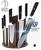DALSTRONG Knife Set Block- Phantom Series 'Dragon Spire' Magnetic Walnut Block Holder - Japanese AUS-8 Steel - 6pc- Holds 12pc