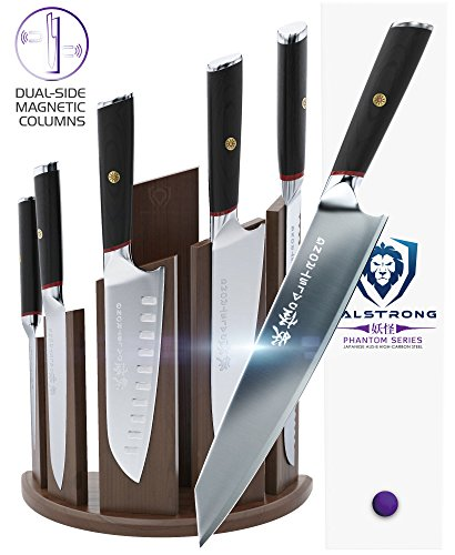 DALSTRONG Knife Set Block- Phantom Series 'Dragon Spire' Magnetic Walnut Block Holder – Japanese AUS-8 Steel – 6pc- Holds 12pc
