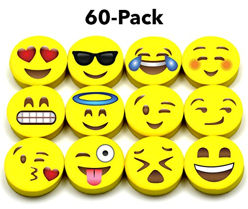 LiveEco Emoji Erasers for Kids, 60 Emoji Pencil Eraser Bulk Pack, Great as Birthday Gifts, Classroom Rewards, Party Favors, Student Incentives, School Supplies, Pair with Fun Pencils