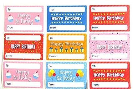 Feliz Cumpleaños Regalo Y Regalo Etiquetas, colorido ...