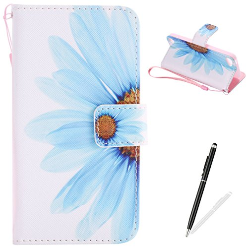 MAGQI iPod Touch 5-6 Case, Premium Flip Stand PU Leather Wallet Magnetic Closure Protective Card Slots Holder Style Cover with Hand Strap for Apple itouch 5/6-Sun Flower