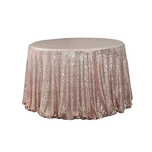 TRLYC Shiny 72 Round Sequin Tablecloth for Wedding Party -Rose Gold