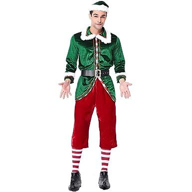 JESOHO Navidad Santa Ayudante Traje Adulto Terciopelo Elfo Traje ...