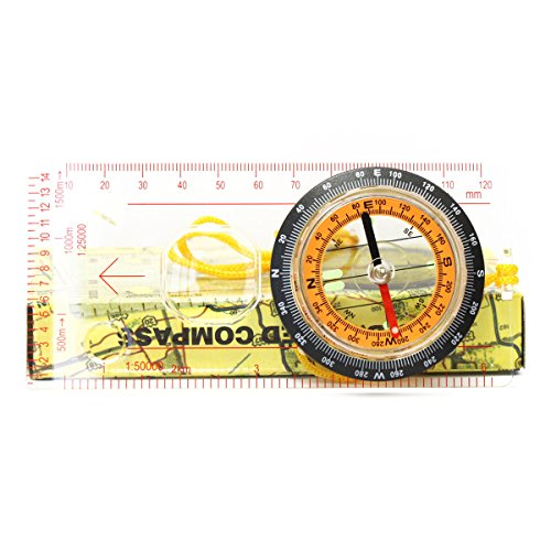 Ueasy Light weight and Portable Baseplate Ruler Map Scale Compass Scouts Camping Hiking Orienteering Camping Scouts Baseplate Map Compass Ruler survial Navigation (Type 1)