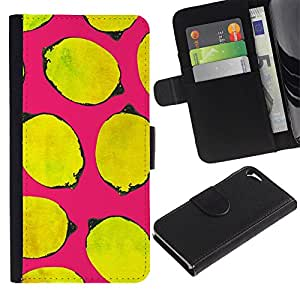 For Apple iPhone 5 / iPhone 5S,S-type® Yellow Life Art Pink Minimalist - Dibujo PU billetera de cuero Funda Case Caso de la piel de la bolsa protectora