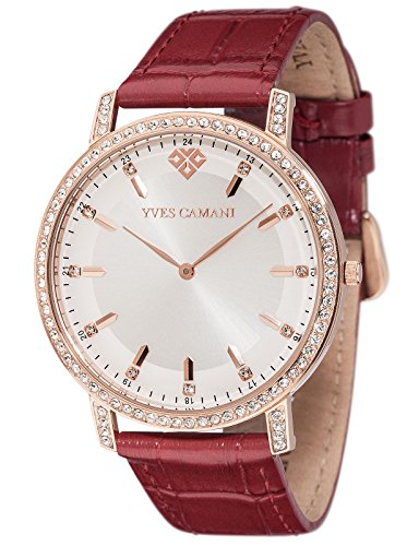 Yves Camani Mayenne Women's Wrist Watch Quartz Analog Stainless Steel Rosegold Silver Dial Brown Leather Strap